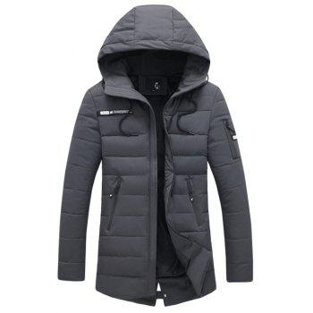 Multi Zipper Embellished Hooded Quilted Coat
