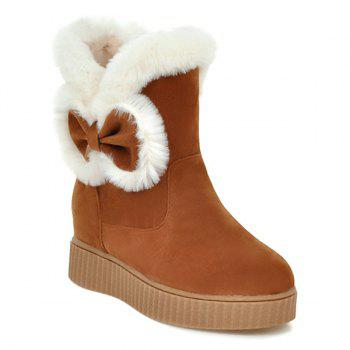 Increased Internal Faux Fur Bowknot Snow Boots