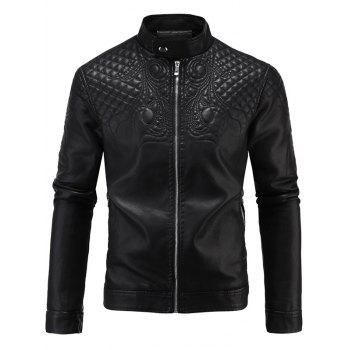 Embroidered Fleece Zip-Up PU-Leather Jacket