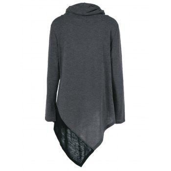 Plus Size Cowl Neck Asymmetrical Pullover - BLACK GREY XL