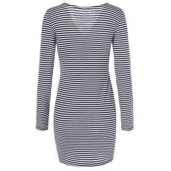Back Zipper Striped Bodycon Dress