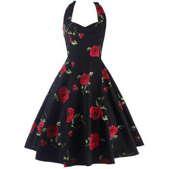 Halter Floral A Line Cocktail Skater Dress - RED RED