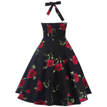 Halter Floral A Line Cocktail Skater Dress - RED M