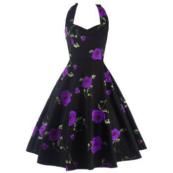 Halter Floral A Line Cocktail Skater Dress - PURPLE PURPLE