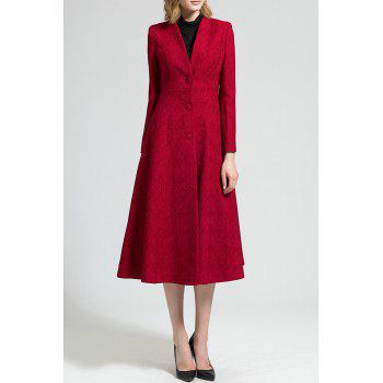 V Neck Long Coat - WINE RED 3XL