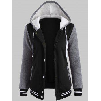 Fleece Baseball Jacket with Hood - BLACK 4XL