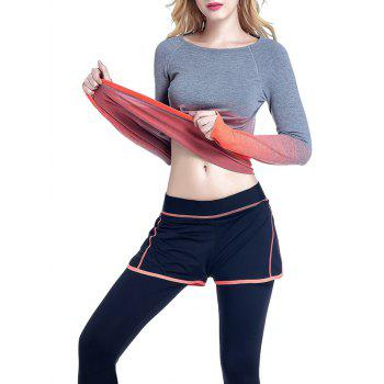 Running Ombre Yoga Long Sleeve Gym Top - ORANGE S
