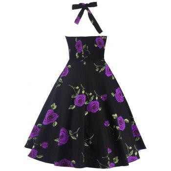 Halter Floral A Line Cocktail Skater Dress - PURPLE S