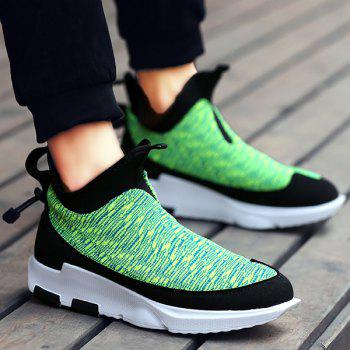 Slip-On Color Block Platform Athletic Shoes - GREEN 44
