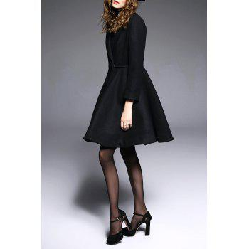 A Line Coat with One Button - BLACK M