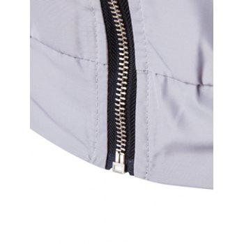 Stand Collar Color Block Striped Splicing Zip-Up Jacket - GRAY 2XL