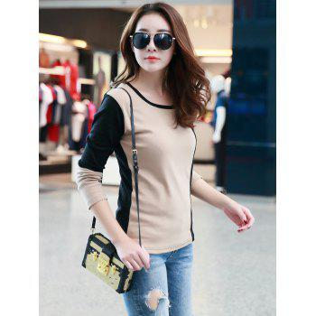 Color Block T-Shirt Casual - Abricot ONE SIZE
