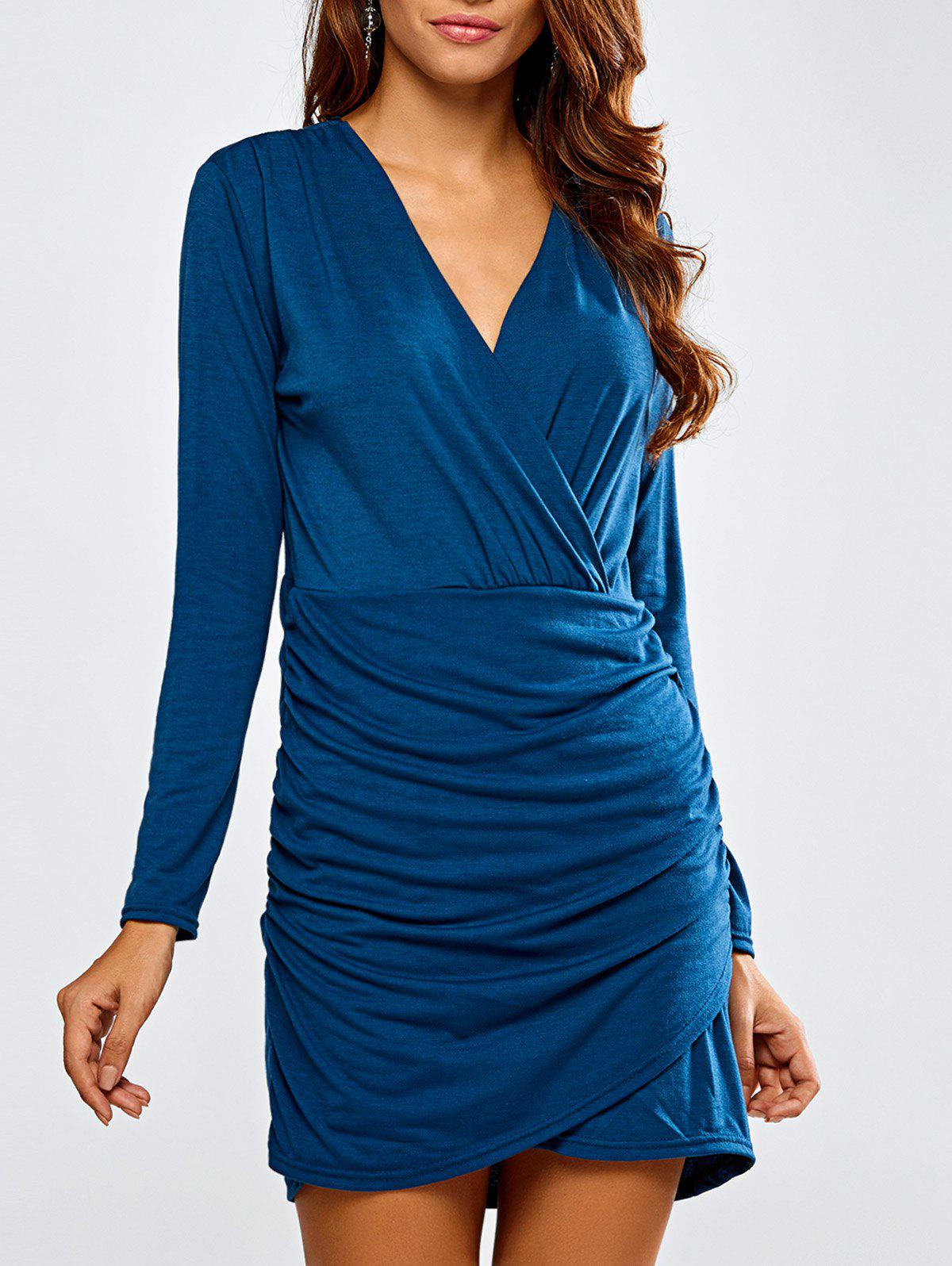 Long Sleeve Ruched Bandage Wrap Bodycon Dress