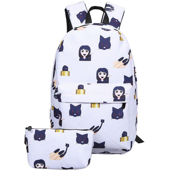 Nylon Emoji Print Backpack - DEEP BLUE