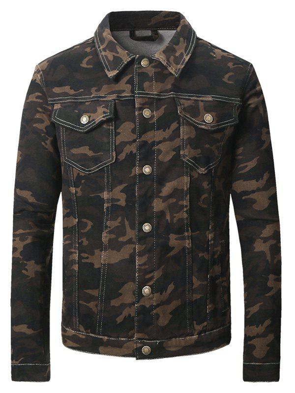 Buy Double Pocket Turn-Down Collar Camouflage Pattern Denim Jecket CAMOUFLAGE