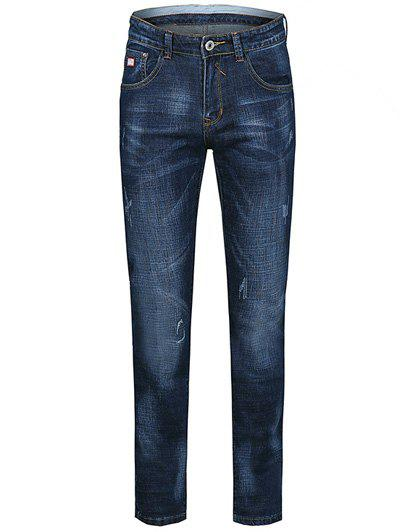 Zipper Fly Cats Whisker Design Plus Size Straight Leg JeansMen<br><br><br>Size: 38<br>Color: BLUE