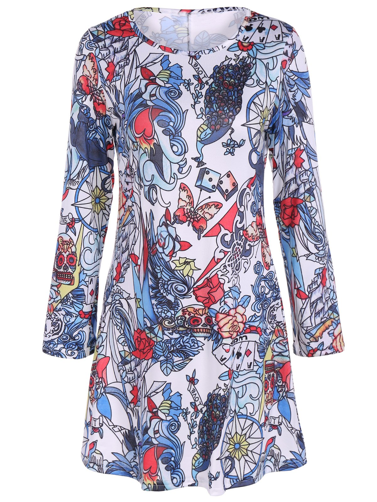 Full Print Long Sleeve Halloween Mini Swing DressWomen<br><br><br>Size: S<br>Color: COLORMIX