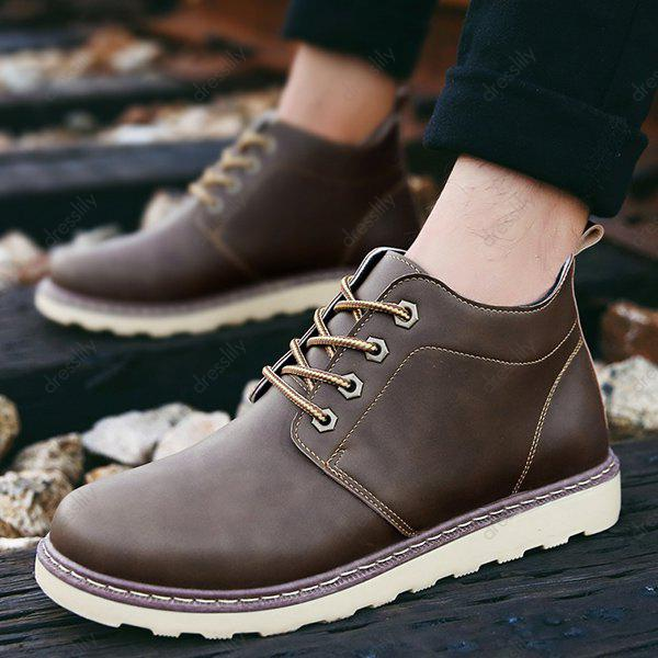 Lace-Up Eyelet PU Leather Short Boots - BROWN 41