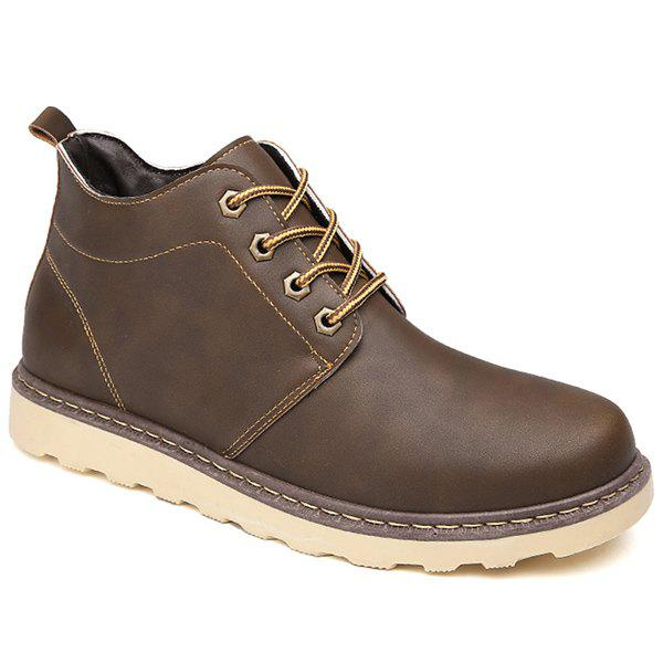 Lace-Up Eyelet PU Leather Short Boots - BROWN 44