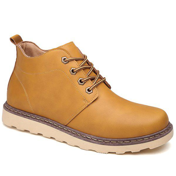 Lace-Up Eyelet PU Leather Short Boots - LIGHT BROWN 44