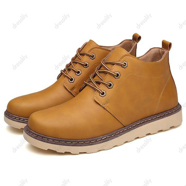 Lace-Up Eyelet PU Leather Short Boots - LIGHT BROWN 40