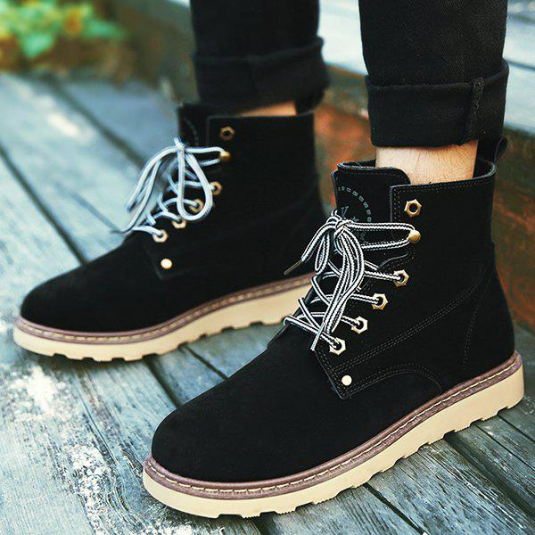 Eyelets Suede Lace-Up Short Boots - BLACK 41