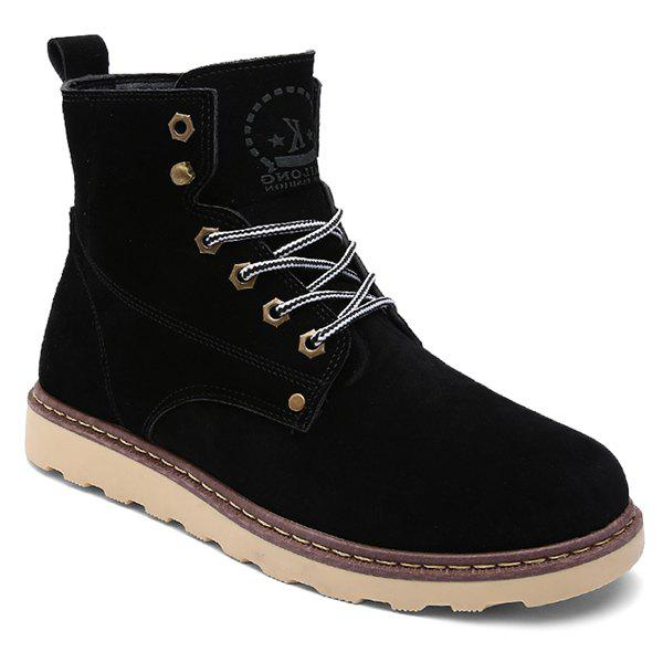 Eyelets Suede Lace-Up Short Boots - BLACK 42