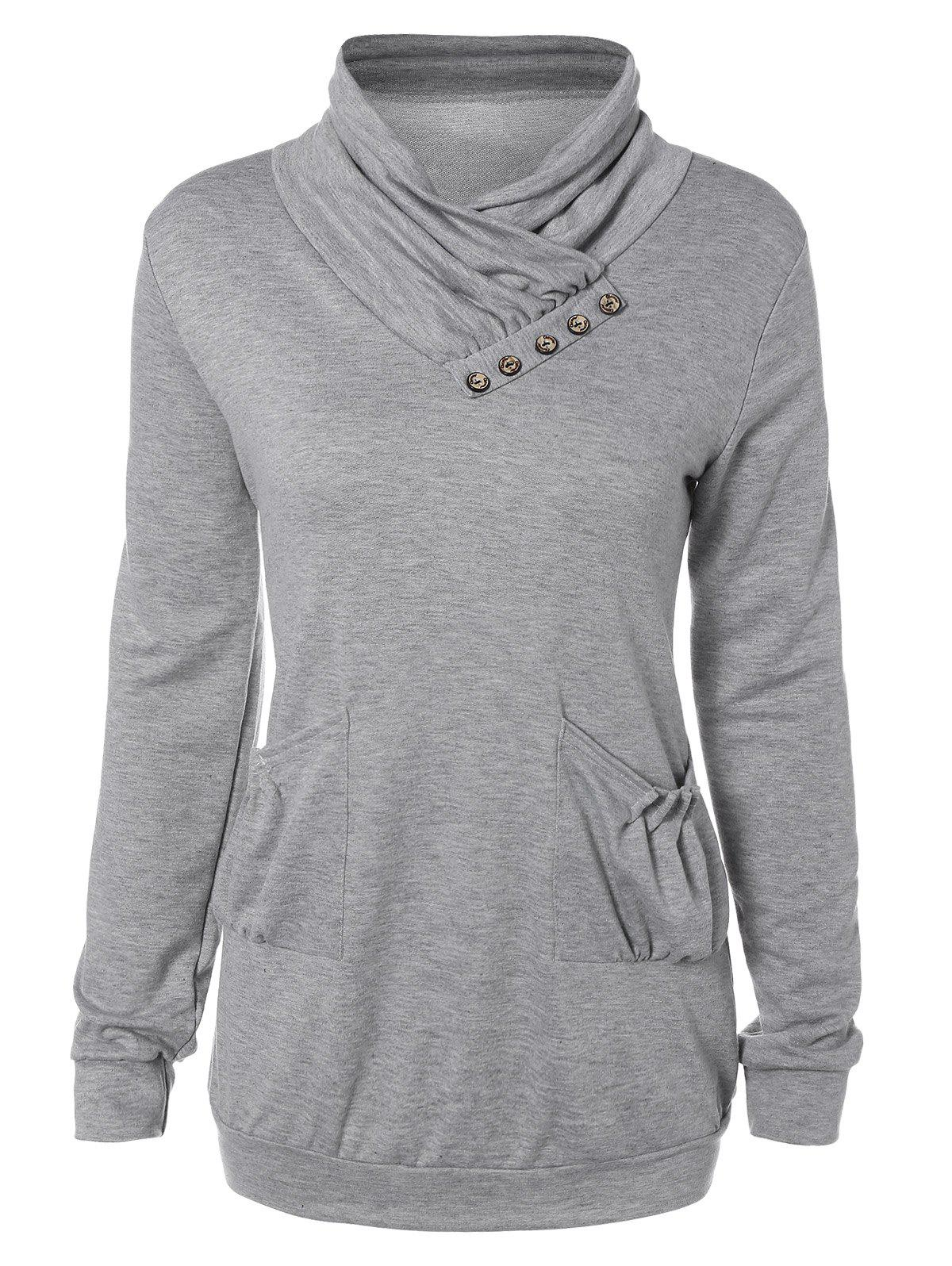 Heaps Collar Buttoned Pullover SweatshirtWomen<br><br><br>Size: M<br>Color: LIGHT GRAY