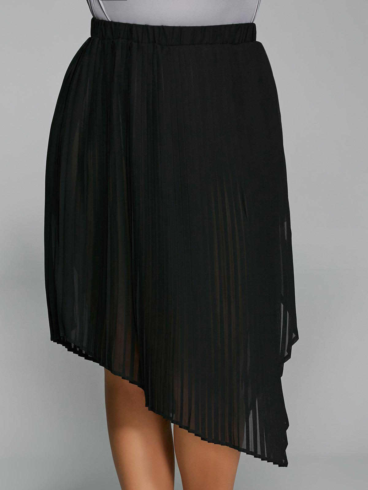 Plus Size Pleated Side Slit Asymmetrical Skirt alex evenings pleated side skirt black lp