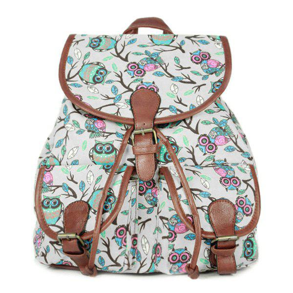 Leisure Buckles and Print Design Women's Satchel - OFF WHITE
