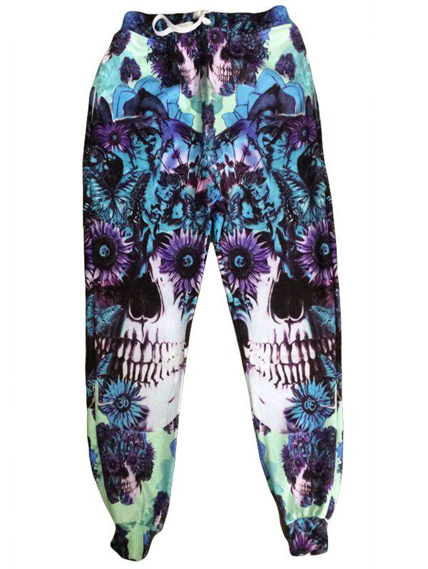 Men's Sports Style Skull Printed Narrow Feet Lace Up Jogging Pants - NEON GREEN M