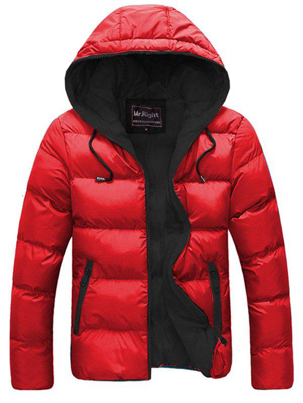 Drawstring Hooded Contrast Zipper Quilted Jacket - RED XL