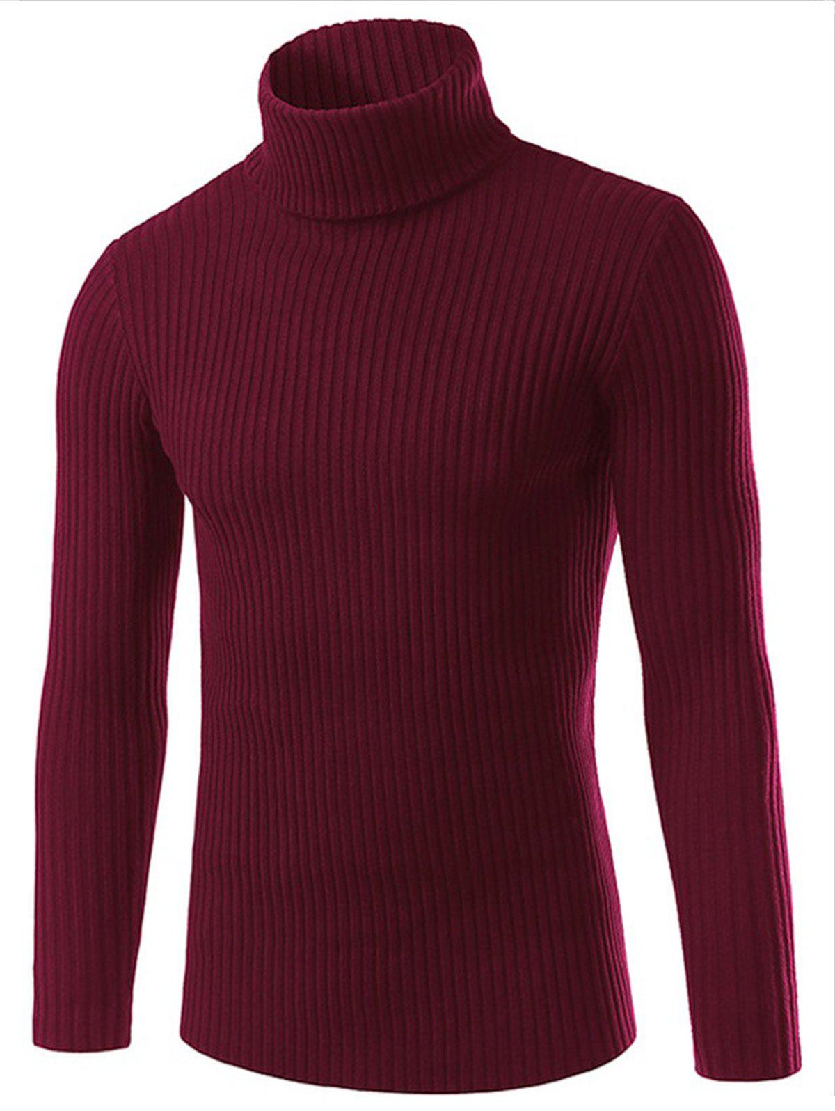 Turtle Neck Vertical Stripe Long Sleeve Slimming Sweater - RED L