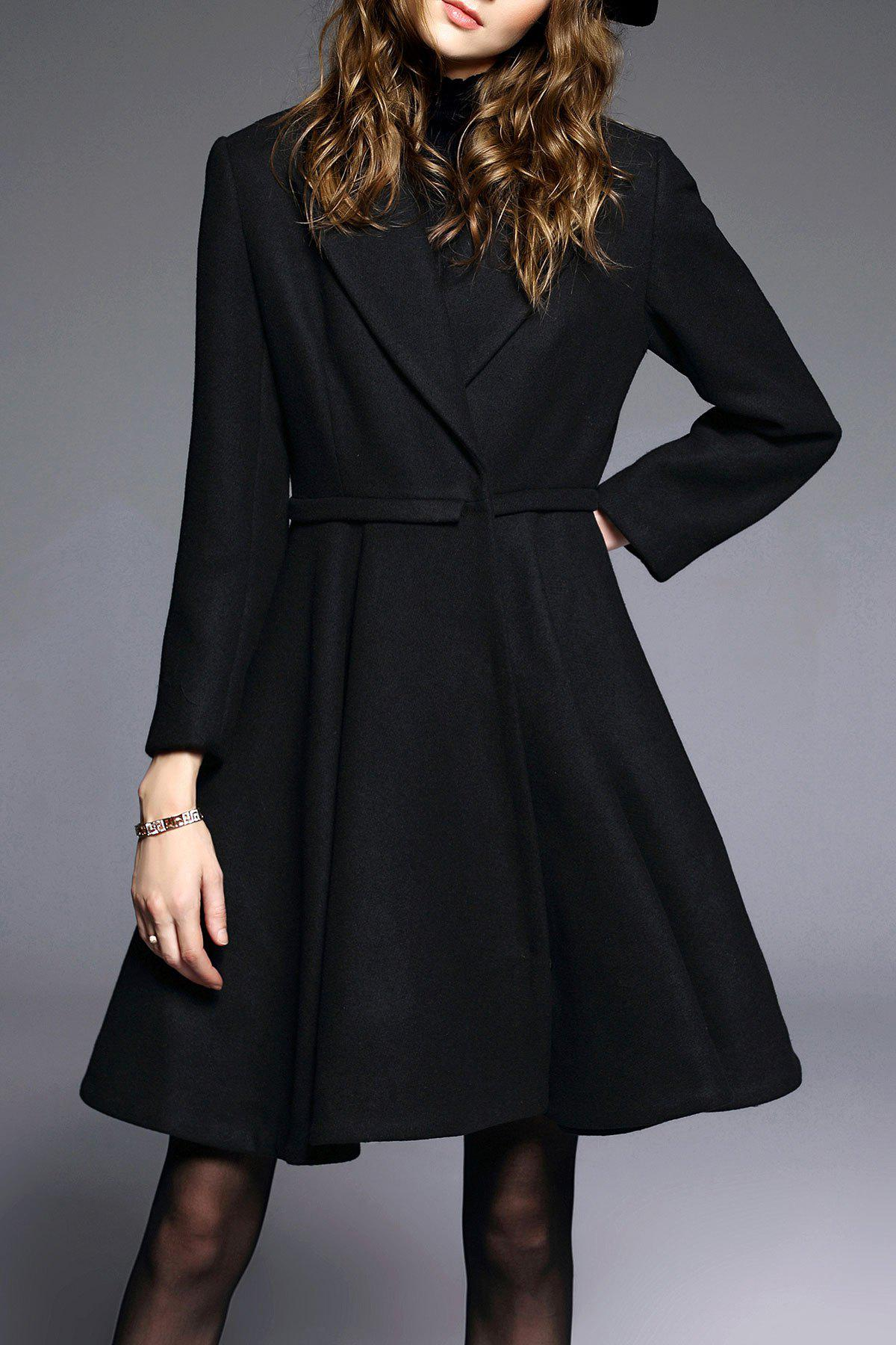 A Line Coat with One Button, Black