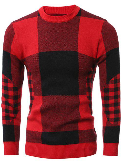 Slim-Fit Crew Neck Checked Sweater slim fit crew neck plaid sweater
