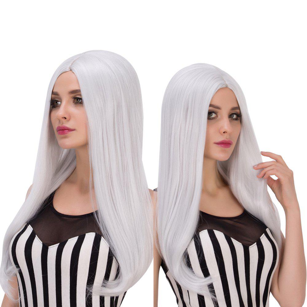 Fashion Long Middle Part Silver White Straight Tail Adduction Women's Cosplay Lolita Synthetic Wig - SILVER WHITE