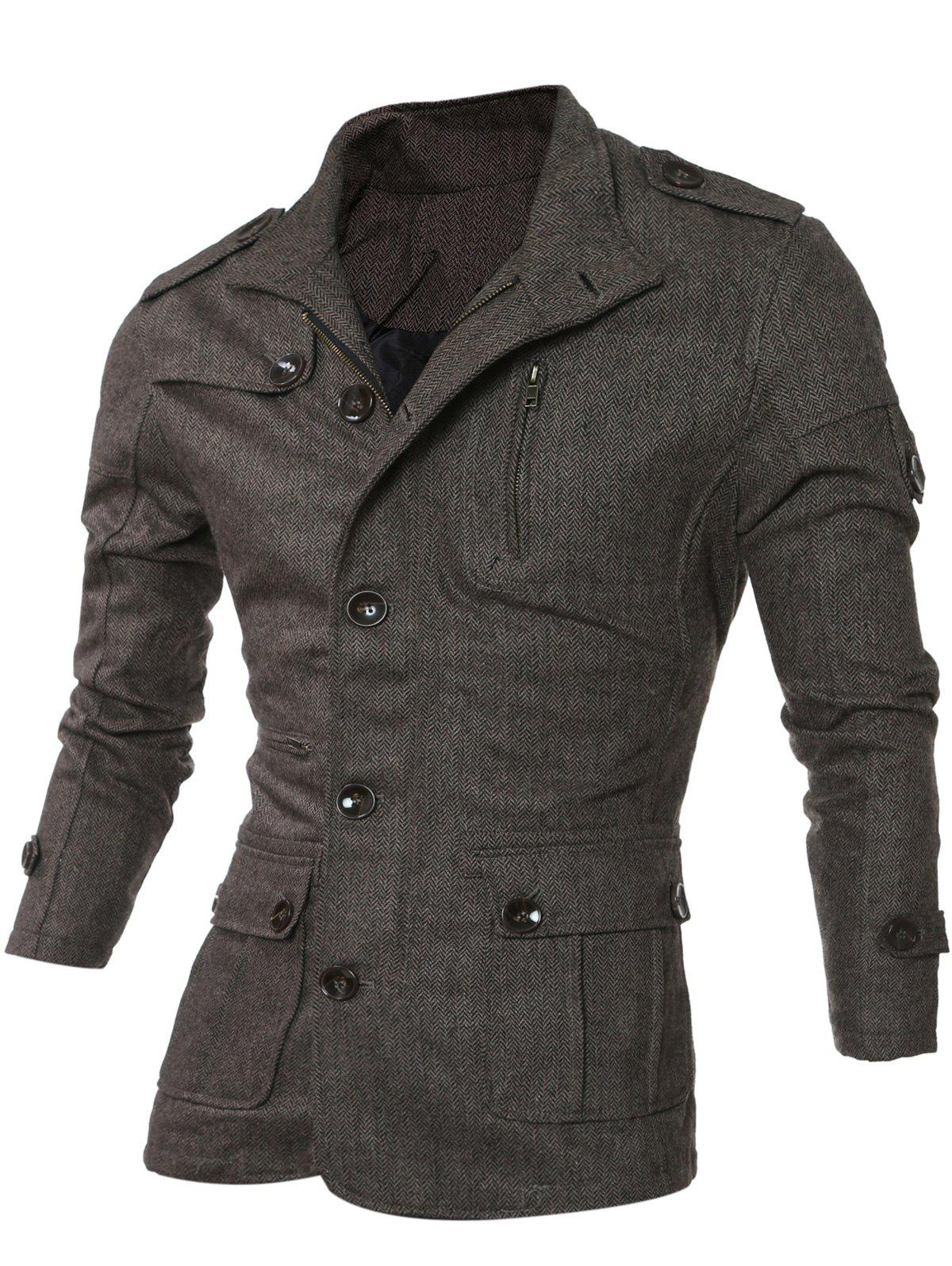 Col rabattu single-breasted Epaulet design poches Veste - café S