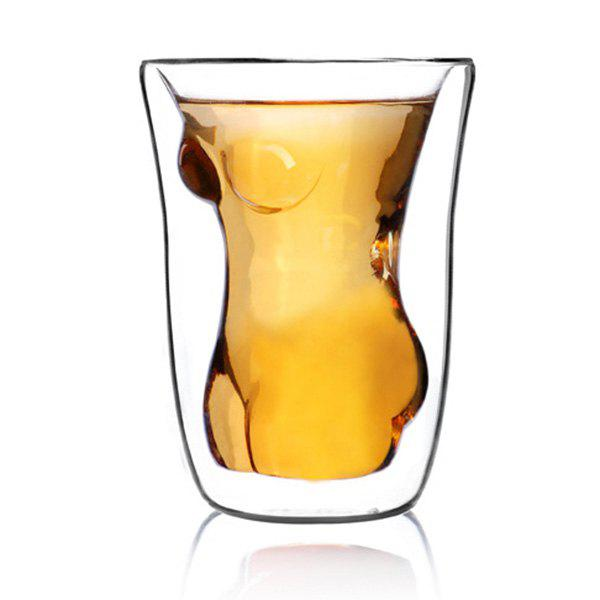 Adiabatic Double Layer Lady Glass Water Beer Mug - TRANSPARENT