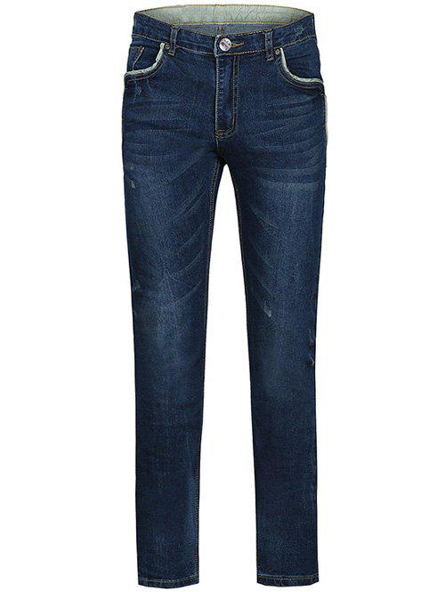 Zipper Fly Edging Spliced Plus Size Straight Leg JeansMen<br><br><br>Size: 36<br>Color: BLUE