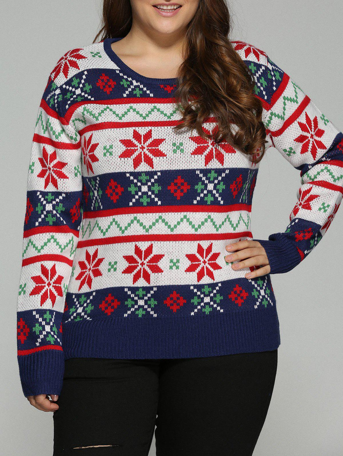 Plus Size Christmas Jacquard Pullover Knit Sweater bear patched plus size pullover sweater