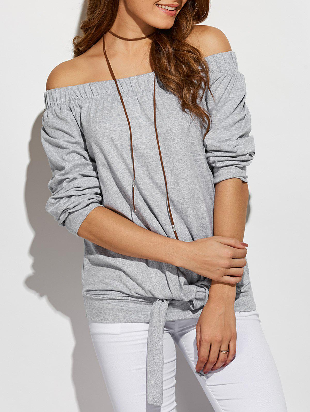 Off The Shoulder T-shirt avant Noué - gris S