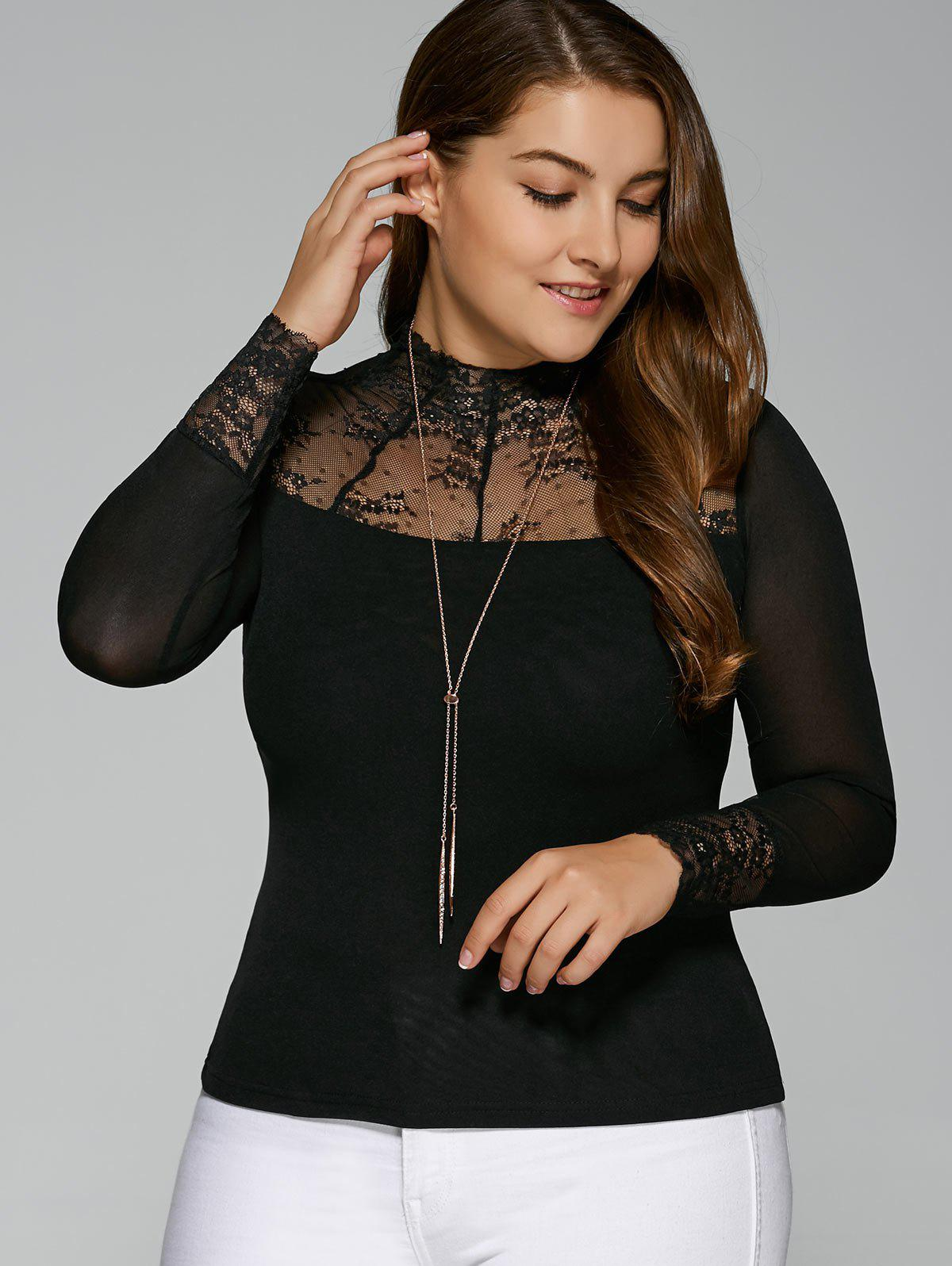 m fall see through t shirt en dentelle lastique patch