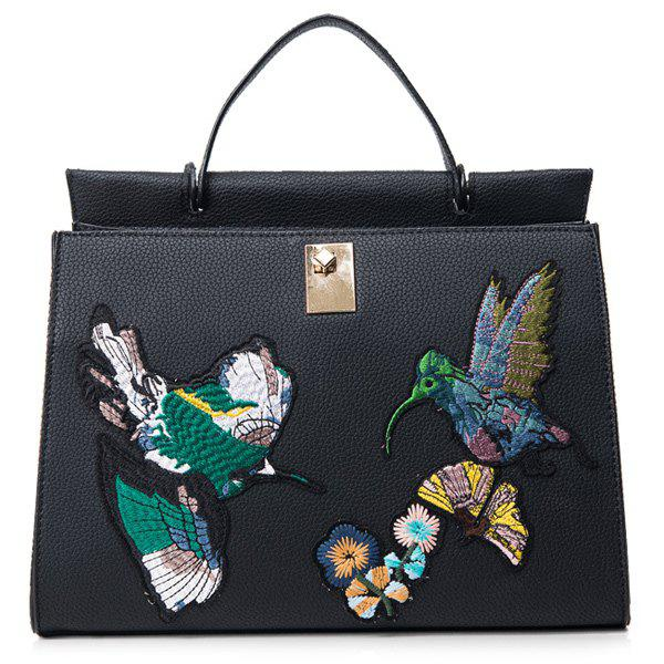 Embroidered Textured PU Leather HandbagBags<br><br><br>Color: BLACK