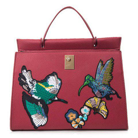Embroidered Textured PU Leather Handbag - RED