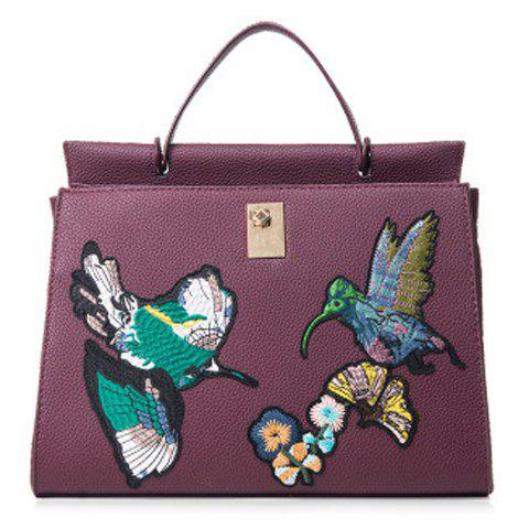 Embroidered Textured PU Leather Handbag - RED VIOLET