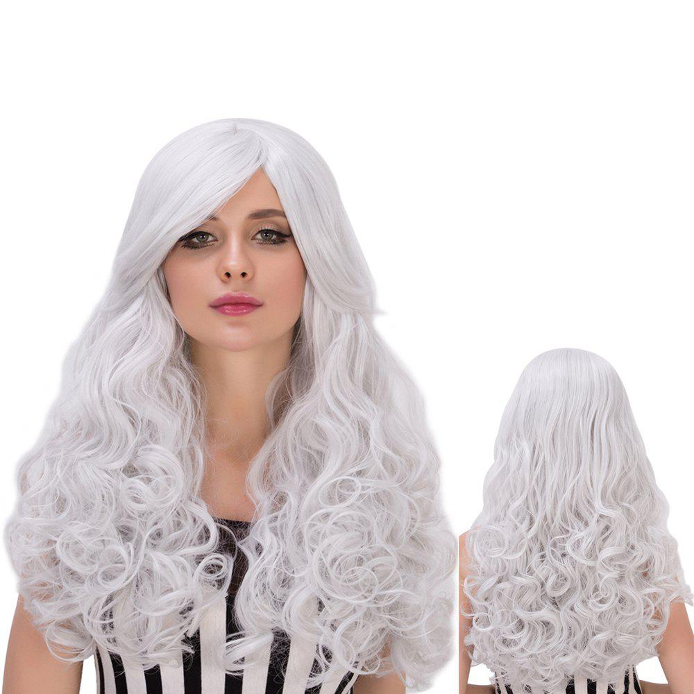Towheaded Wavy Long Side Bang Silver White Women's Cosplay Lolita Synthetic Wig - SILVER WHITE