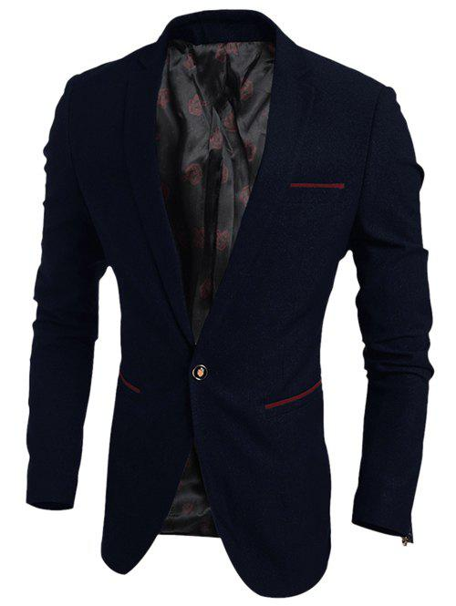 цены Notch Lapel Contrast Trim Pocket One-Button Blazer