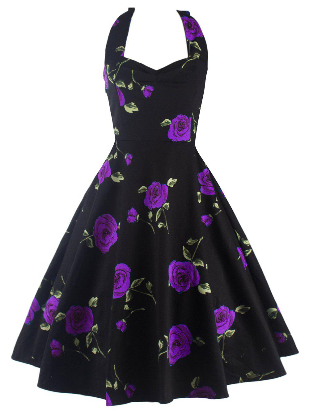Halter Floral A Line Cocktail Skater Dress - PURPLE M