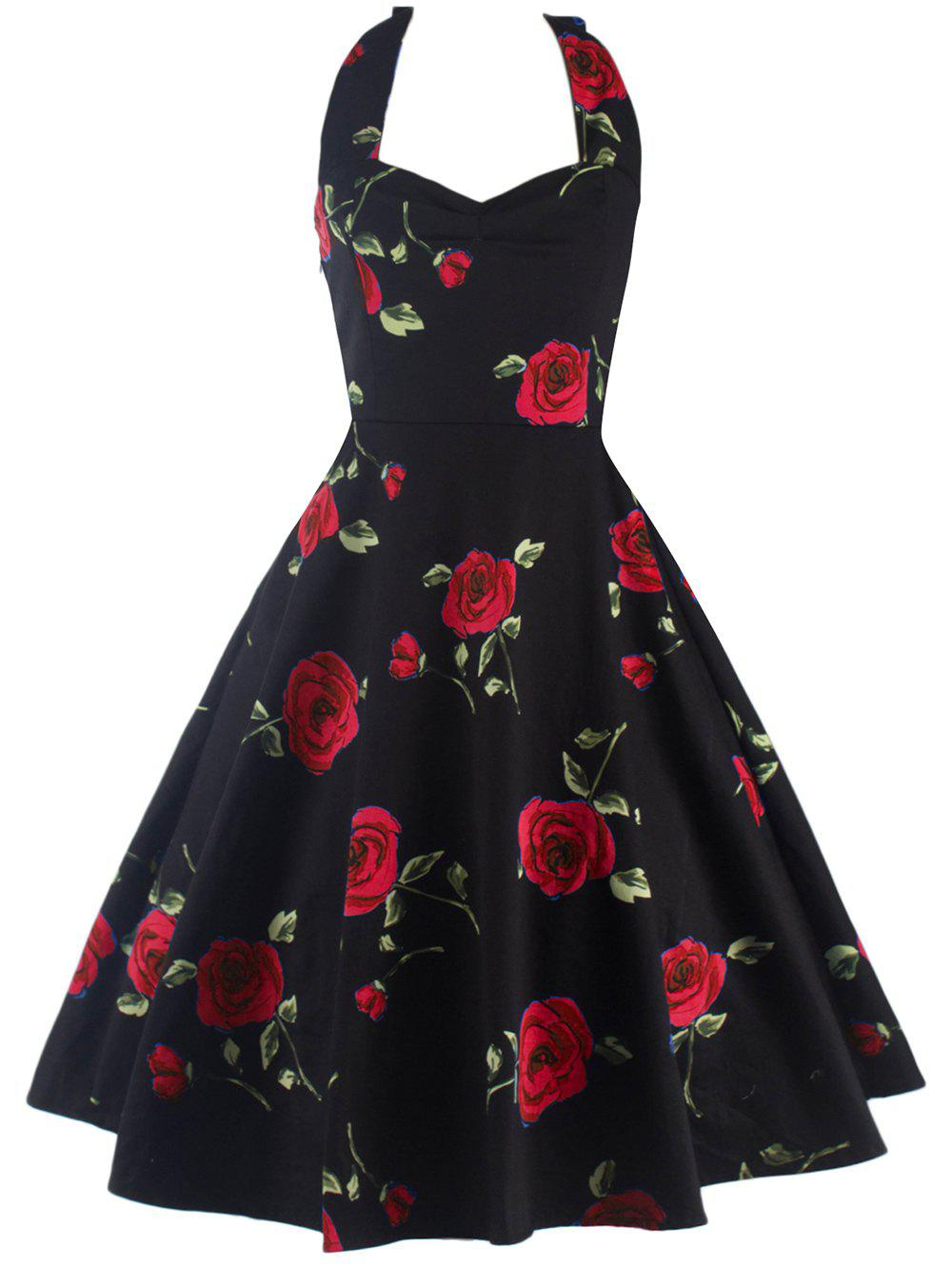Halter Floral A Line Cocktail Skater Dress - RED L