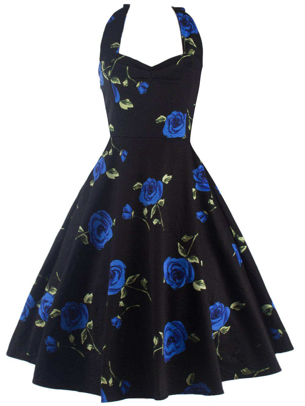 Halter Floral A Line Cocktail Skater Dress gibson prtk 059 historic toggle switch caps 2 pcs